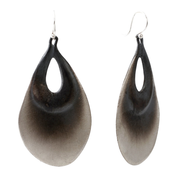 TenThousandThings Brushed Silver Peacock Earrings