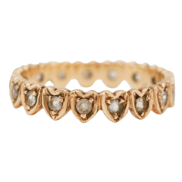 Vintage Victorian Heart Eternity Band with Diamonds