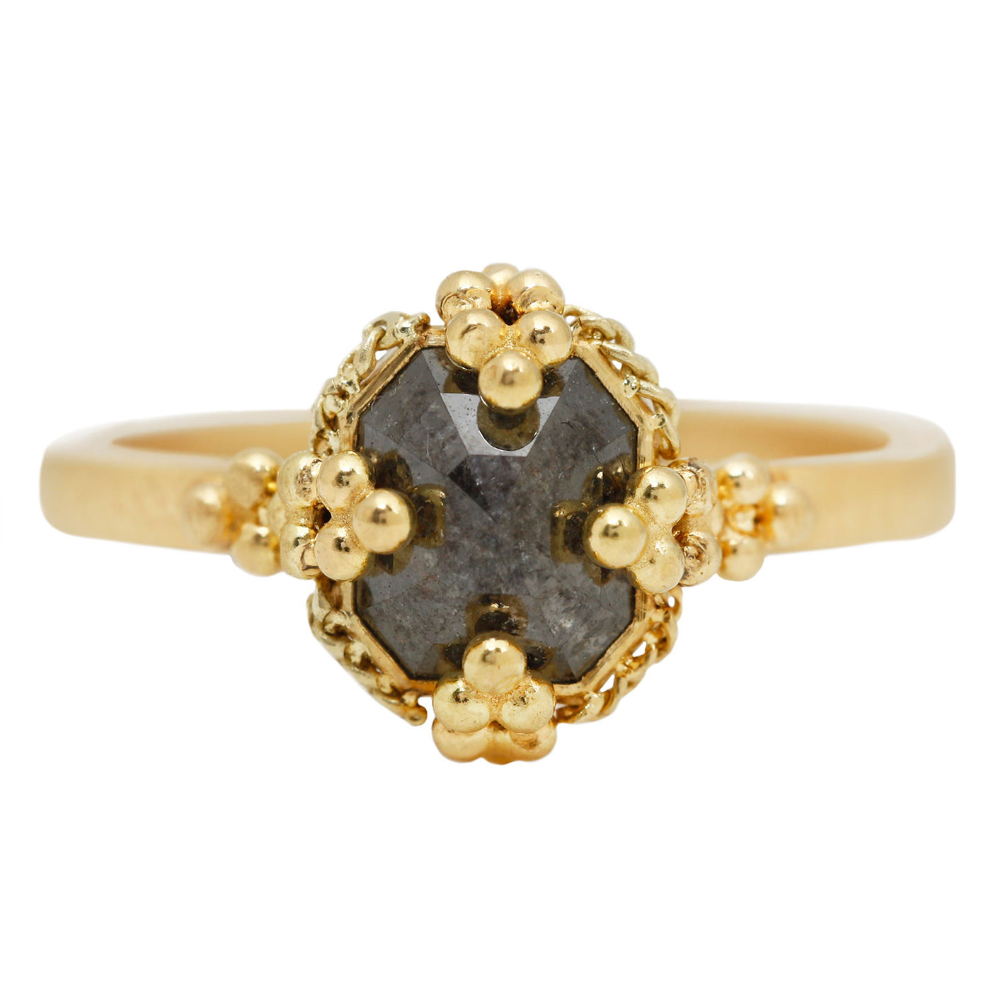 Amali Gray Diamond Ring in Yellow Gold