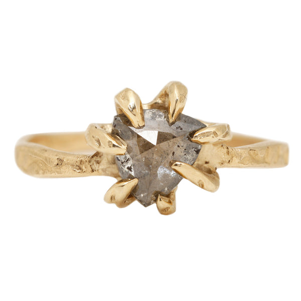 Pisces Diamond Solitaire Ring - A Diamond Set in Yellow Gold - Lauren Wolf Jewelry