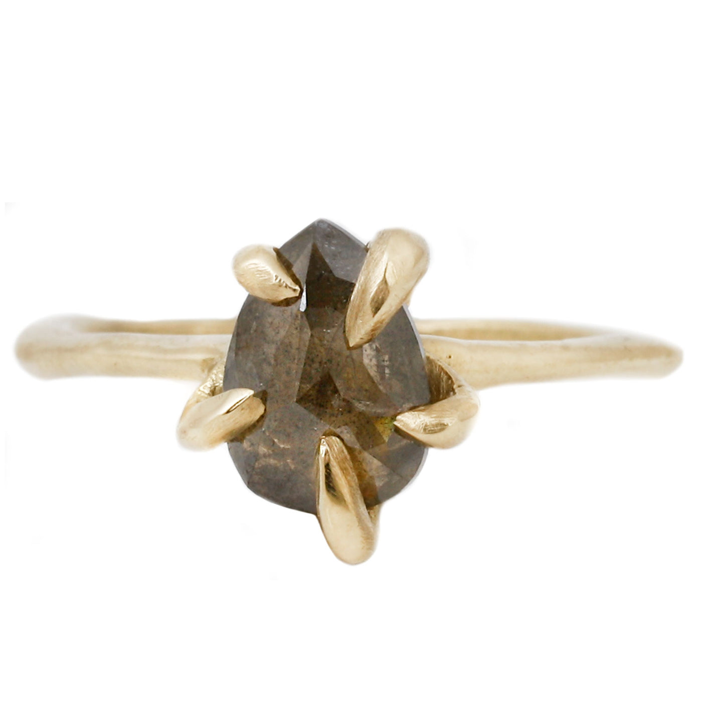 Lauren Wolf Jewelry Contemporary Claw Ring Diamond Solitaire in Yellow Gold
