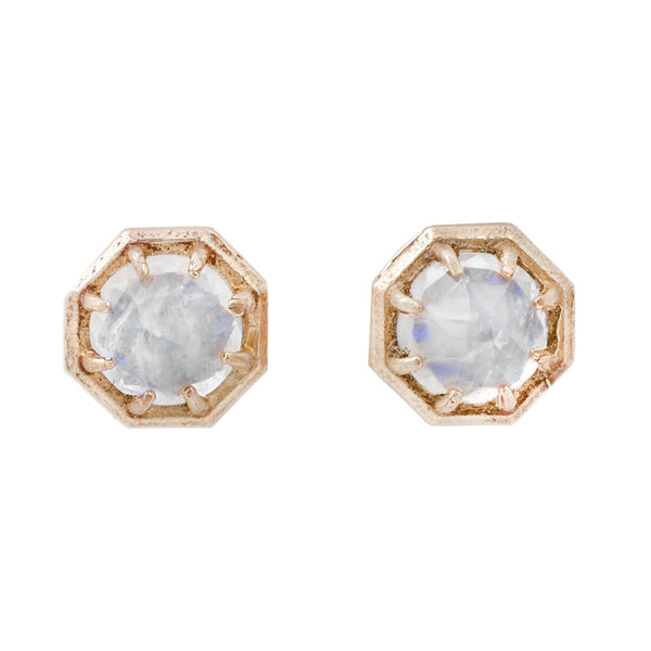 Lauren Wolf Yellow Gold Rainbow Moonstone Studs