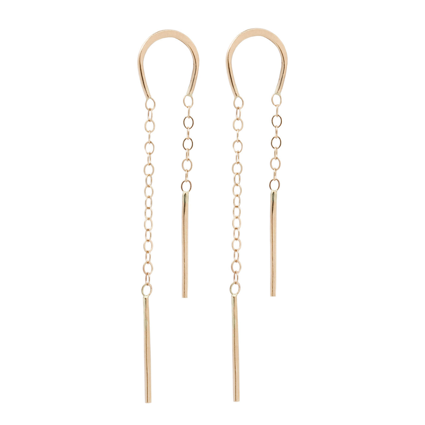 Melissa Joy Manning Horseshoe Chain Threader Earrings