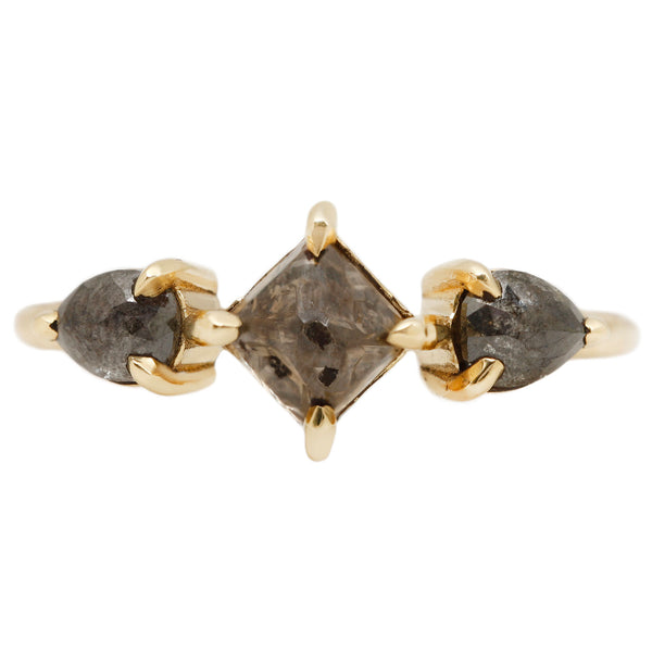 Ishtar Three Diamond Ring - Three Diamonds Set in Yellow Gold - Lauren Wolf Jewelry
