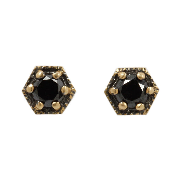 Satomi Kawakita Black Diamond Hexagon Earrings