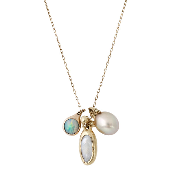 TenThousandThings Opal, Indonesian pearl, and American natural pearl charm necklace set in gold
