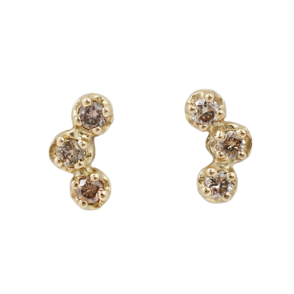 Satomi Brown Diamond Studs set in Yellow Gold