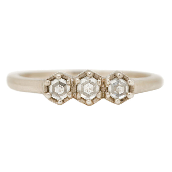 Rebecca Overmann Triple Hex Diamond Ring in White Gold