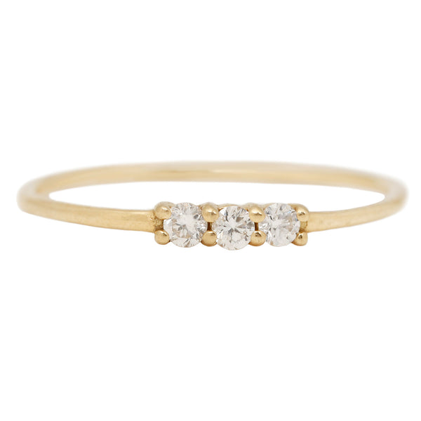 Le Petite Diamond Ring - Three White Diamonds in Yellow Gold - AILI Jewelry