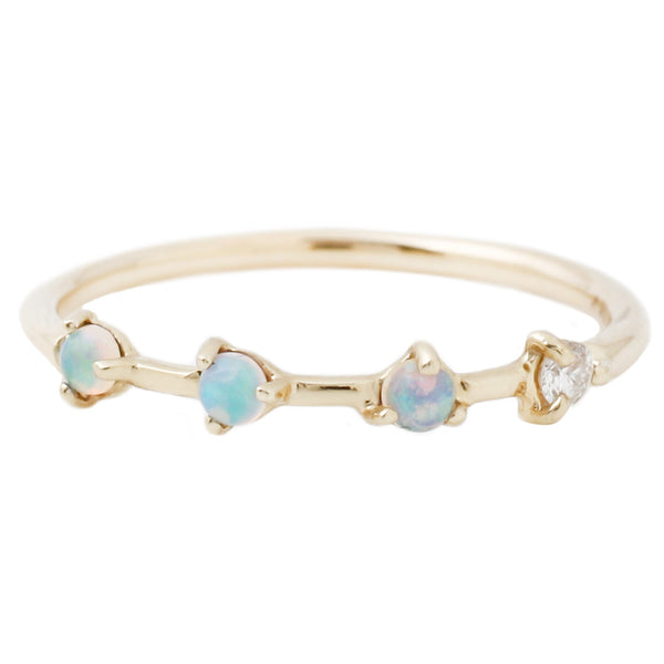 Wwake Opal and Diamond Four Step Ring
