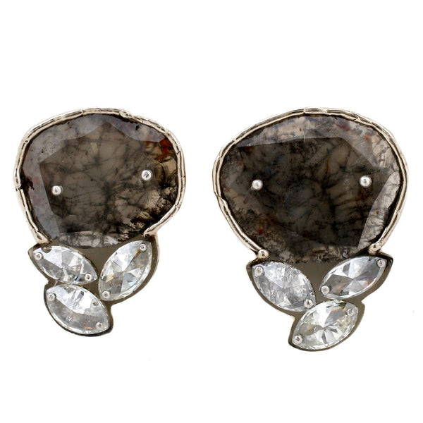 TAP by Todd Pownell Gray and White Diamond Slice Stud Earrings