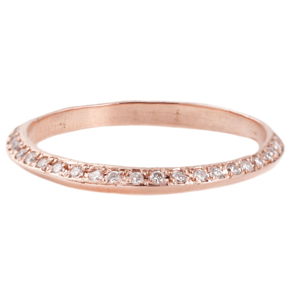 Adeline Rose Gold Saturn Ring with White Diamonds