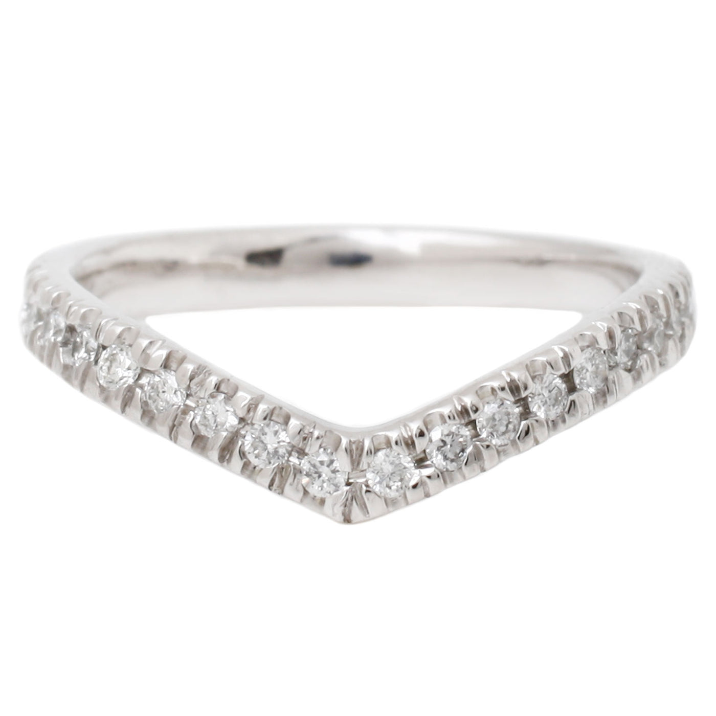 White Gold White Diamonds Wishbone Half Eternity Band