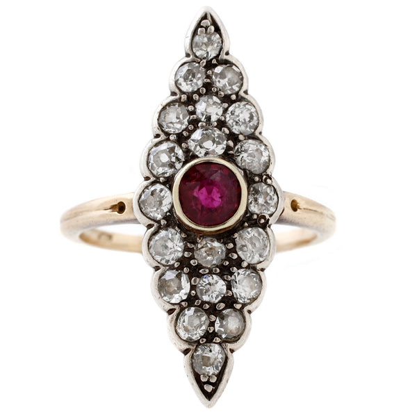 Ruby + Diamond Marquise Ring