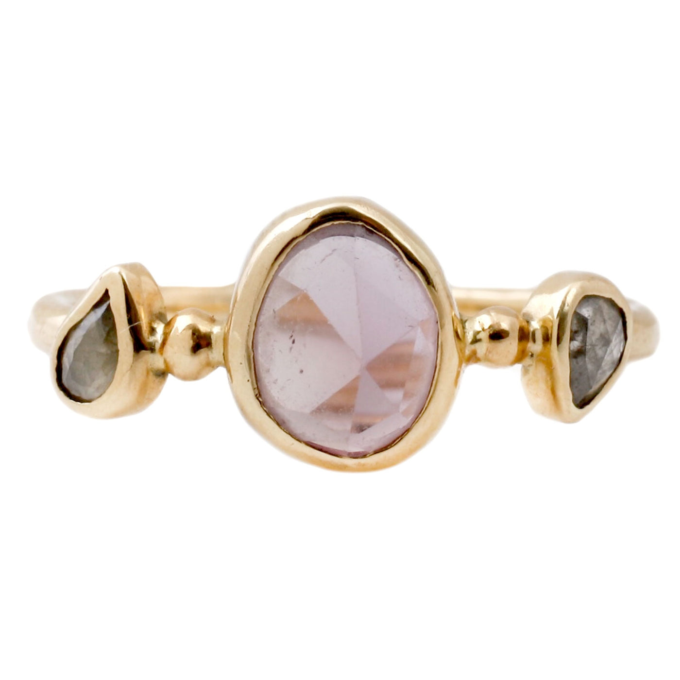 Melissa Joy Manning Three Stone Ring With Two Diamonds and a Pink Sapphire Set in Yellow Gold