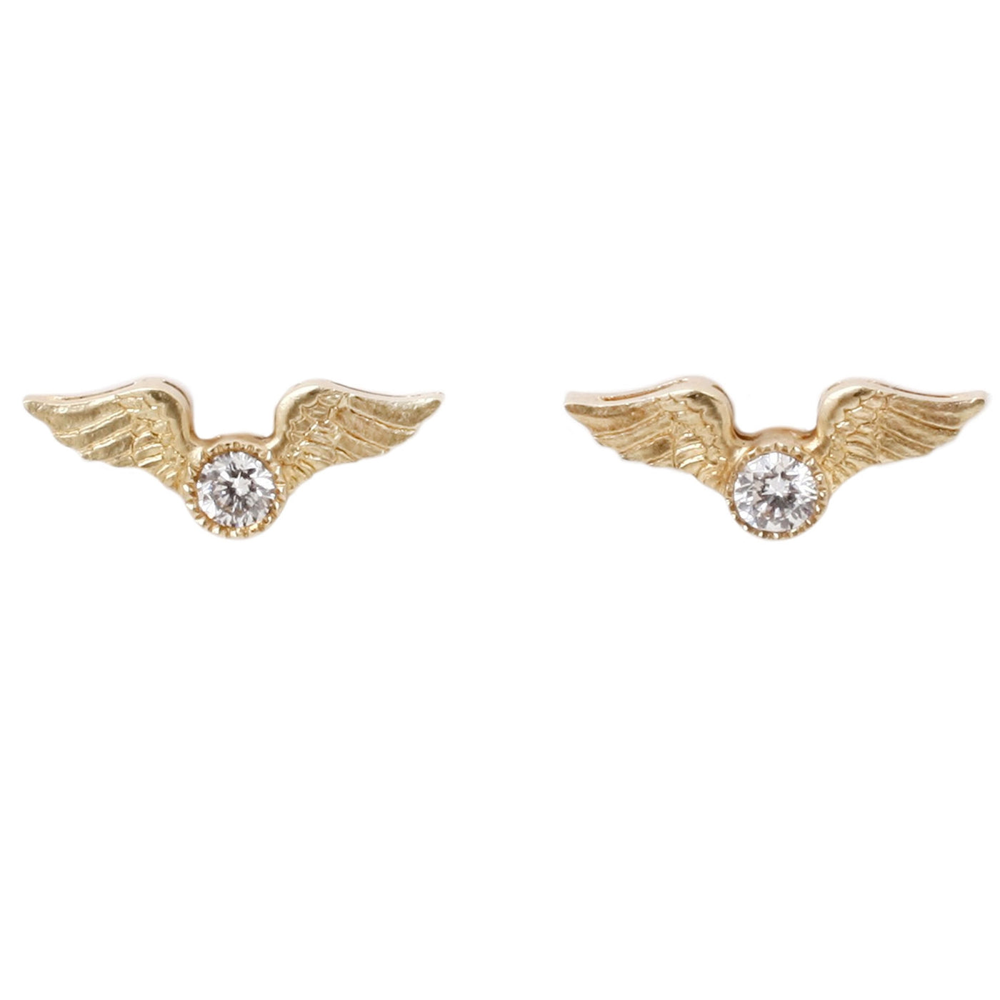 Anthony Lent Flying Diamond Studs. 18k yellow gold with white diamond solitaires.