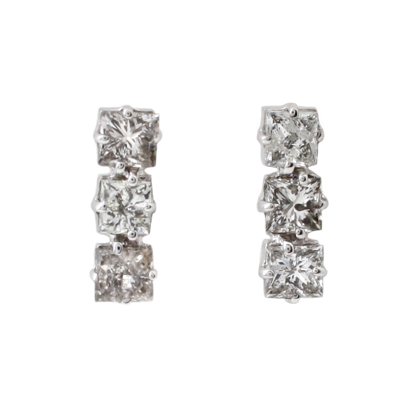 Triple Square Gray Diamond Studs