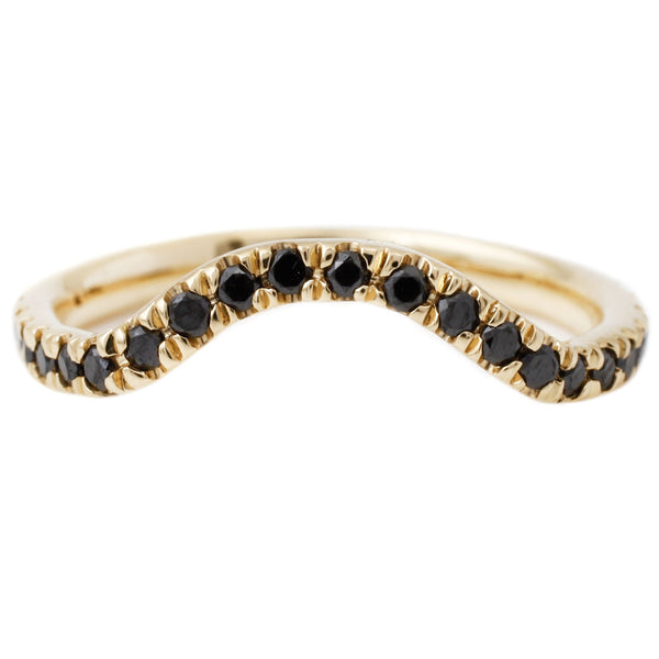 Lauren Wolf Yellow Gold Black Diamond Nesting Band