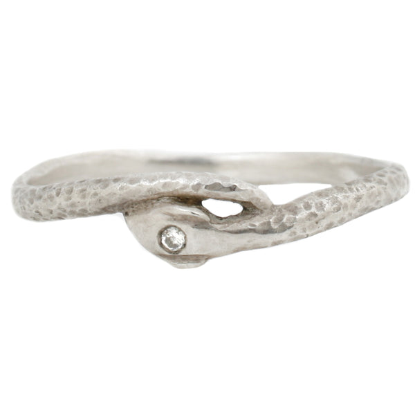 Sarah Swell Silver Serpent Snake Ring with Diamond Eye