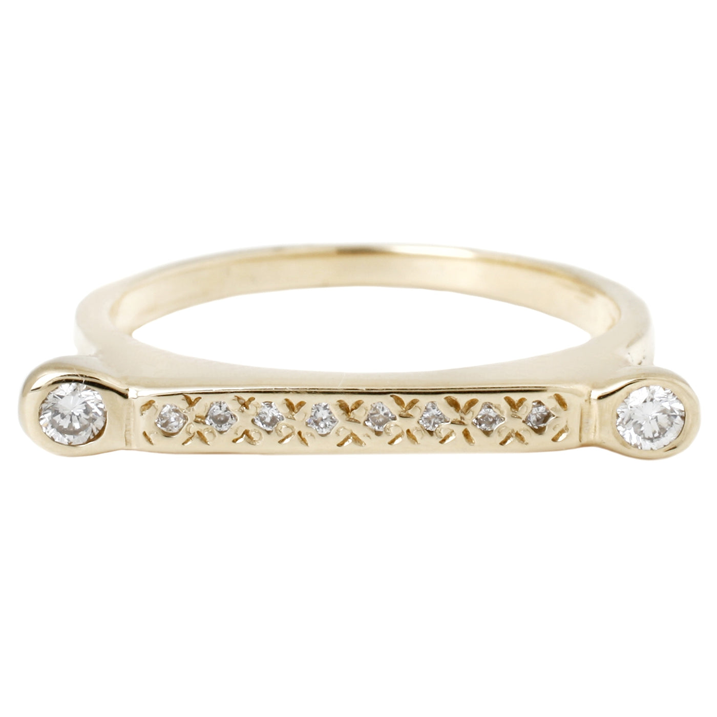 Scosha - Diamond Bar Ring - Yellow Gold With Pave White Diamonds and Two White Diamonds