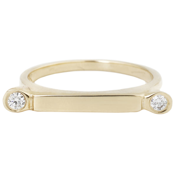 Scosha - Gold Bar Ring - Yellow Gold With Two White Diamonds