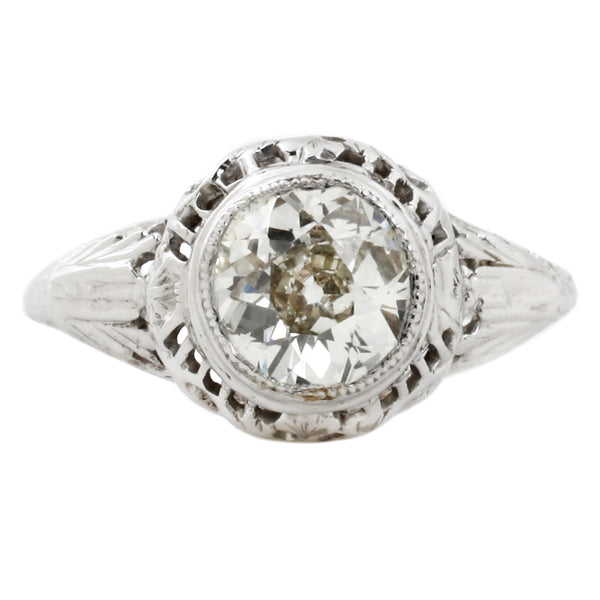 Bezel Set Diamond Ring in White Gold