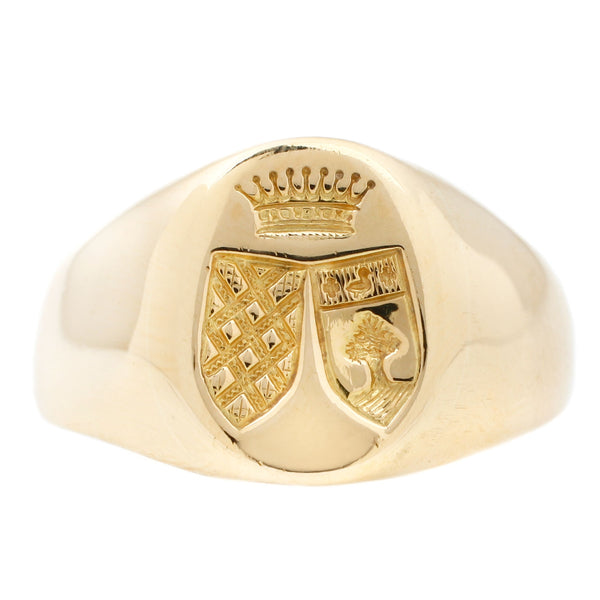 Double Shield Signet Ring