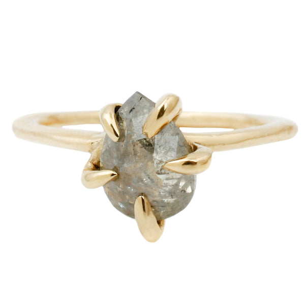 Lauren Wolf Jewelry Contemporary Claw Diamond Solitaire Ring in Yellow Gold