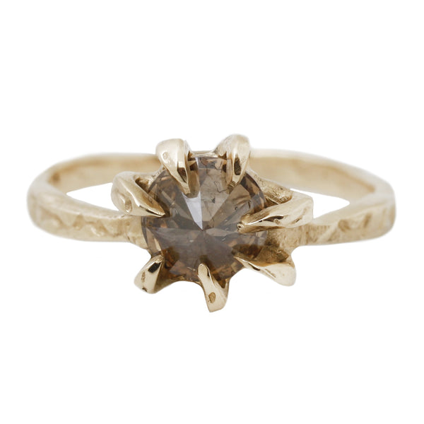 Champagne Diamond Stingray Solitaire Ring