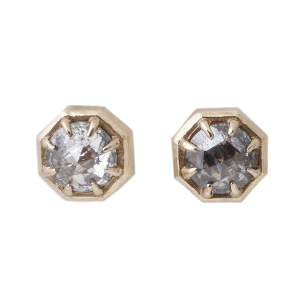 Gray Diamond Octagon Studs