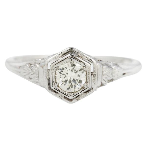 Vintage Floral Diamond Hex Solitaire