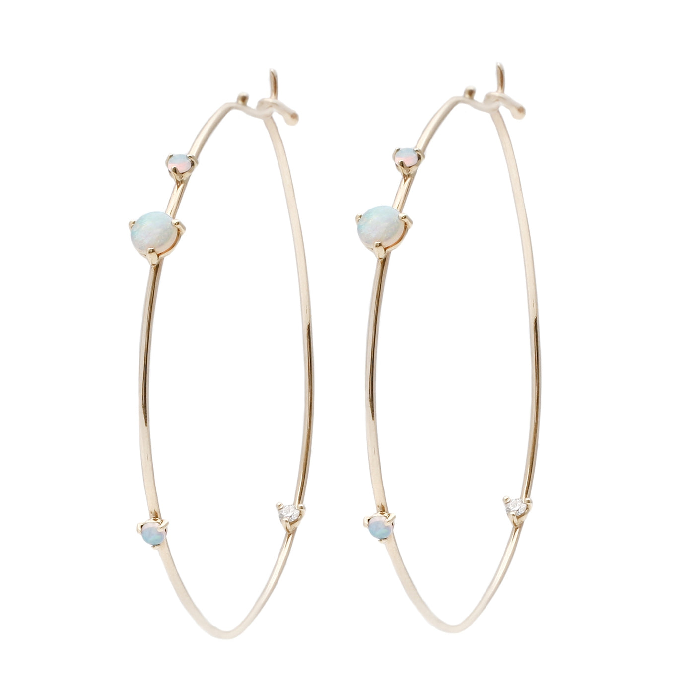 Wwake Opal and Diamond Four Step Hoops