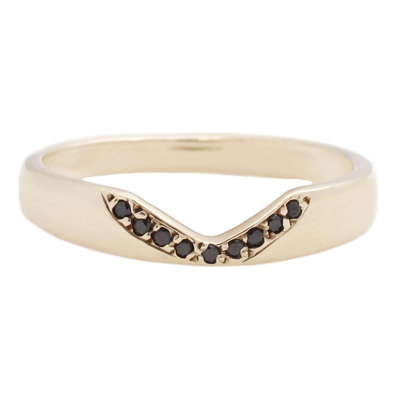 Adeline Gold Corona V Ring with Black Diamonds