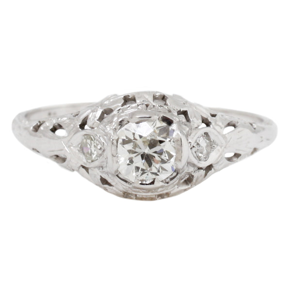 White Diamond Filigree Ring