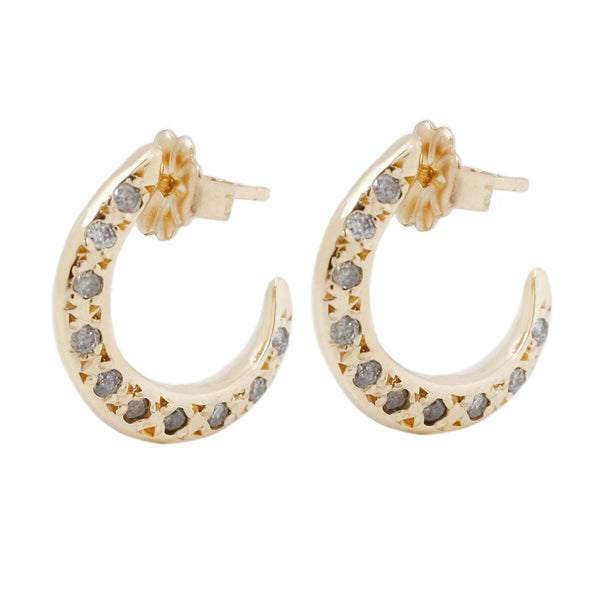 Double Sided Yellow Gold Diamond Hoops Earrings