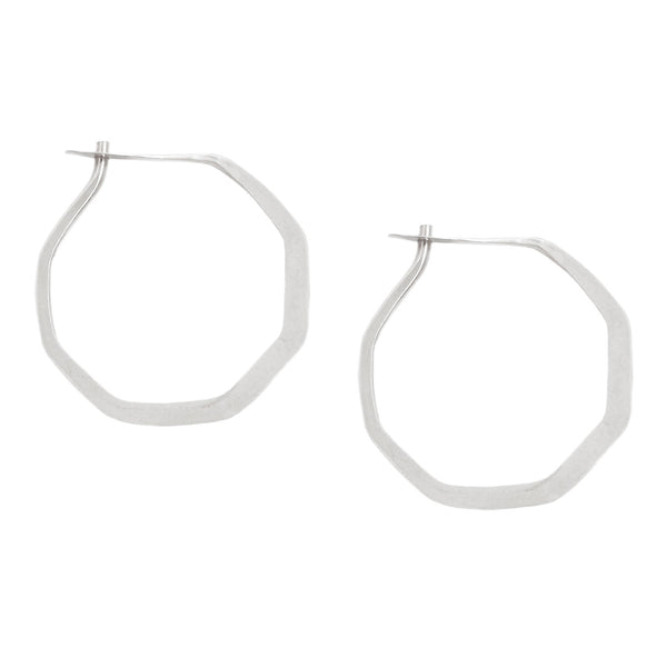 Melissa Joy Manning Silver Octagon Hoop Earrings
