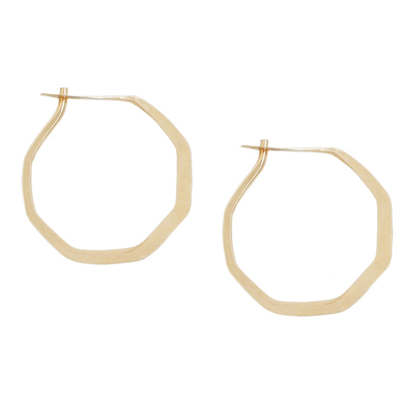 Melissa Joy Manning Gold Octagon Hoop Earrings
