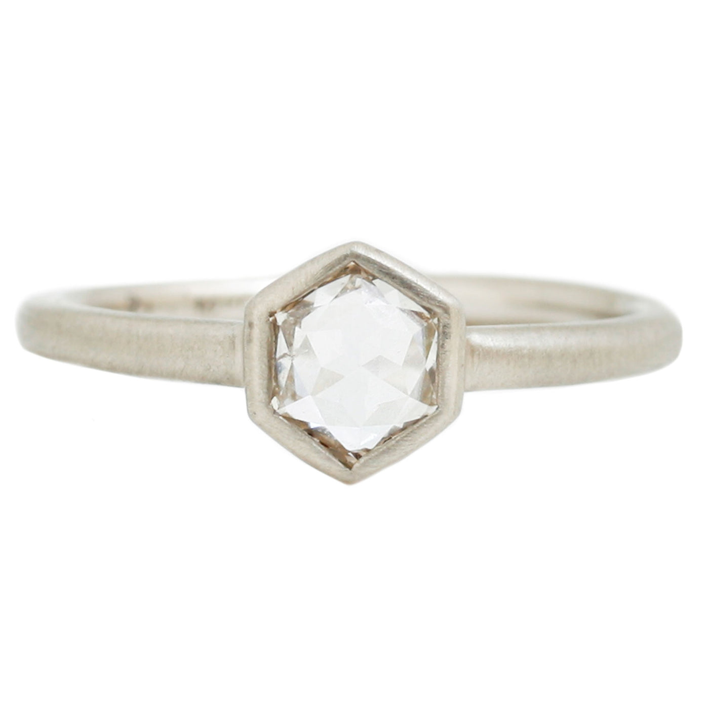 Hexagon Diamond Solitaire Ring