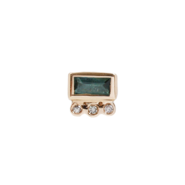 Celine D'Aoust Green Baguette Single Stud