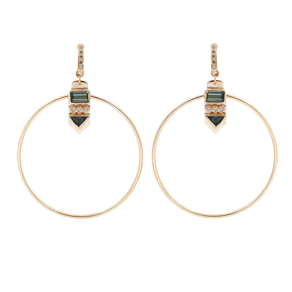 Celine D'Aoust Tourmaline Totem Hoop Earrings