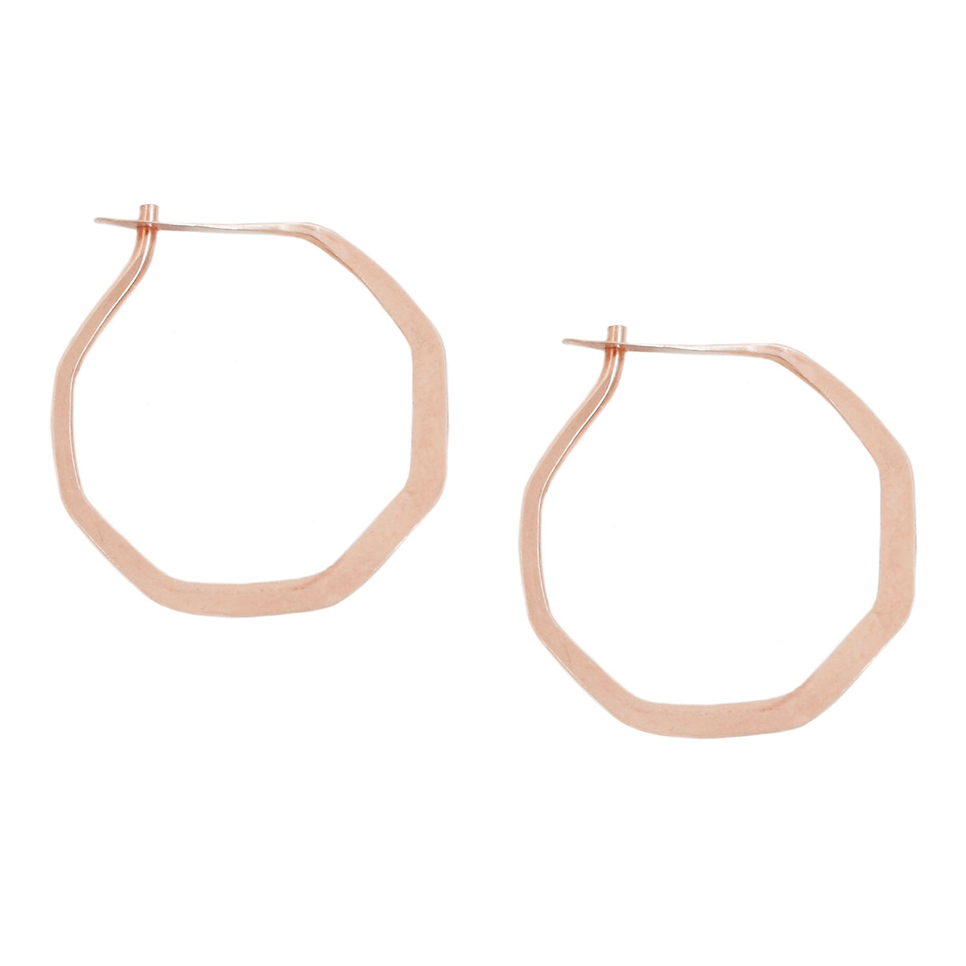 Rose Gold Octagon Hoops