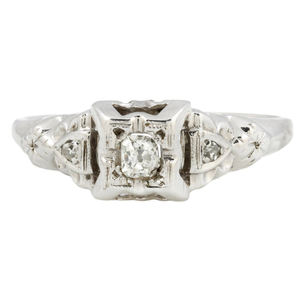 Vintage Fancy Engraved Diamond Ring