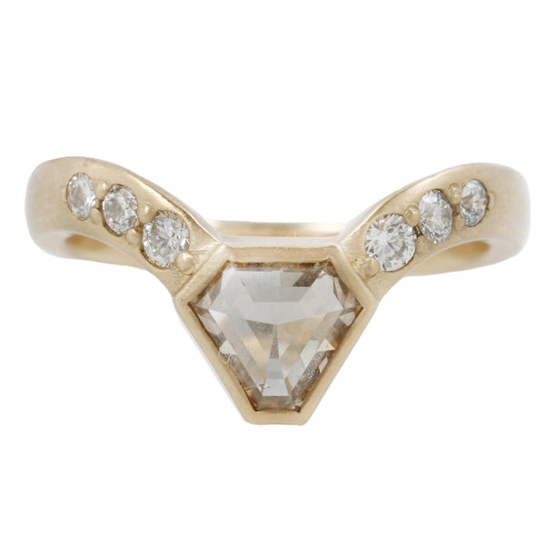 REBECCA OVERMANN CHAMPAGNE SHIELD DIAMOND RING