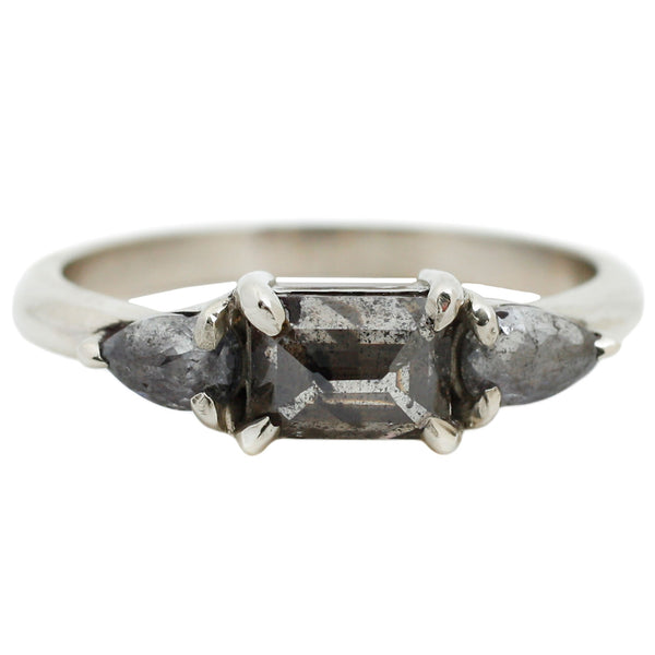 Three Salt & Pepper Diamond Ring