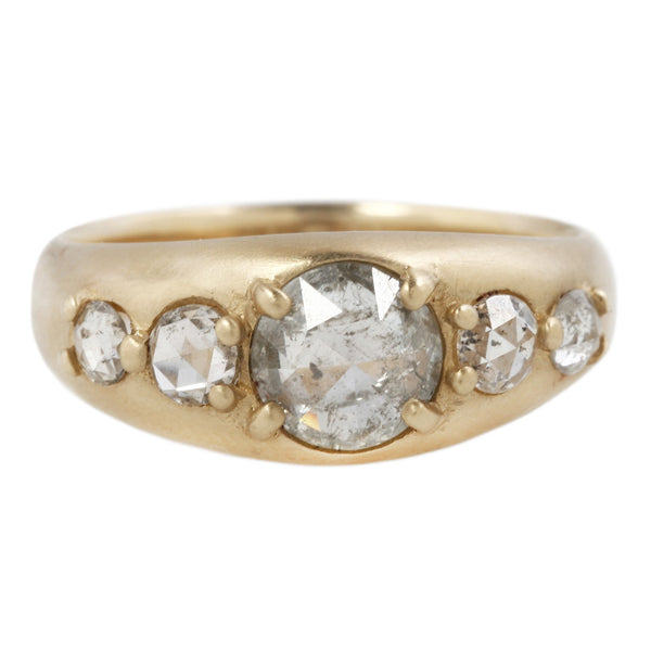 REBECCA OVERMANN TAPERED DIAMOND BEAD RING