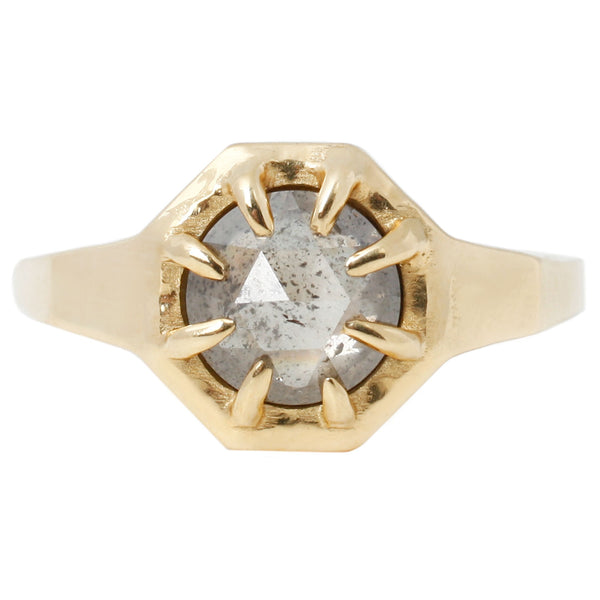 Lauren Wolf Jewelry Octagon Diamond Solitaire Ring in Yellow Gold