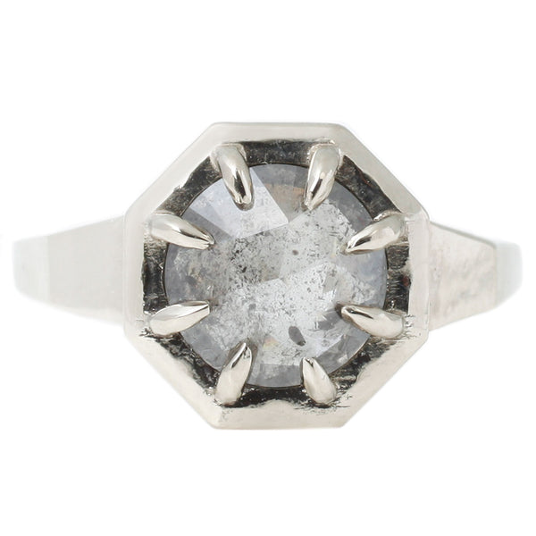Lauren Wolf Jewelry Octagon Solitaire Ring in White Gold