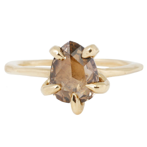 Lauren Wolf Jewelry Contemporary Diamond Claw Ring in Yellow Gold