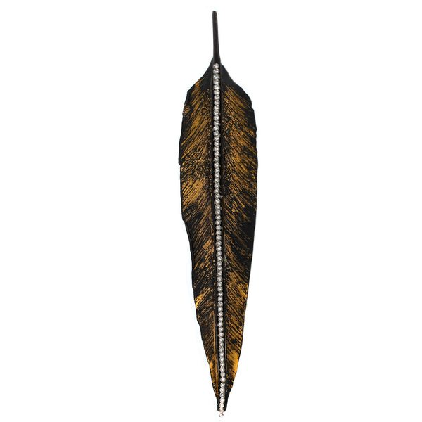 Iron + Diamond Feather Brooch
