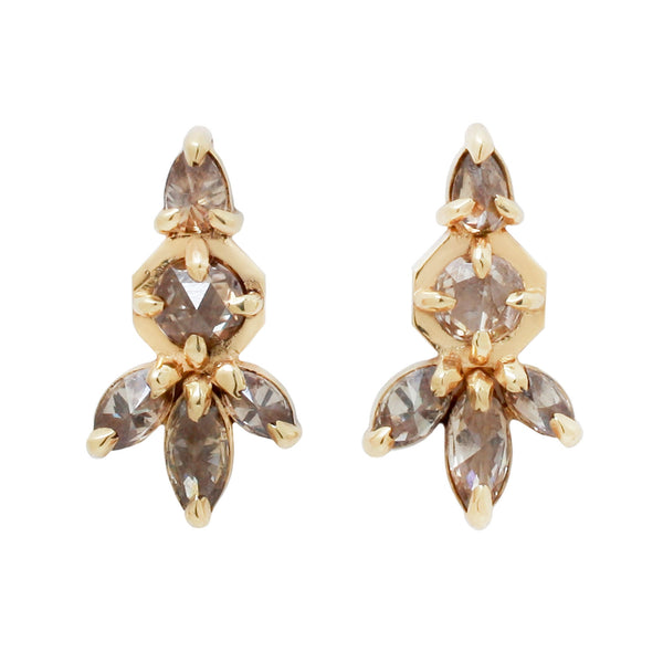 Lauren Wolf Diamond Drop Earrings with 5 champagne rose cut diamonds set in yellow gold